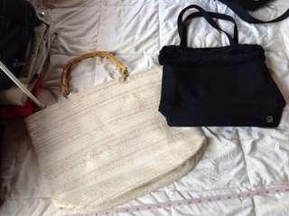 BUNDLE TAKE ALL H&M HUGE BAMBOO TOTE & LANCOME ZIPPERED BAG