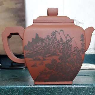 紫砂壺,紅泥,320cc,(傳統的泥绘),王石耕 監製,王惠中造,2位己去世