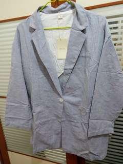 【包順豐】韓國條紋棉麻外套