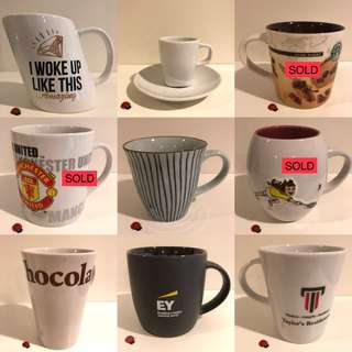 Assorted ceramic mugs (RM5-RM20)