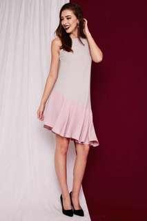 BN Bethany Asymmetrical Swing Dress in Grey Pink