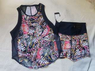New Cotton On TERNO Floral active wear dry fit top and bootie workout shorts (S, M and L available)