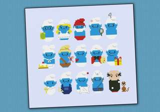 Smurfs Cross stitch Bookmark