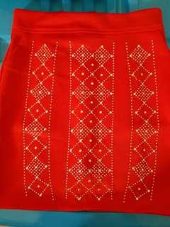 New Skirt merah bahan scuba adem!