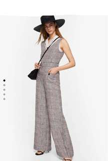 MANGO Checkered Linen Jumpsuit