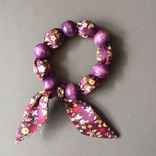 紫色布系木珠手鏈