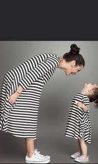 Mother and Daughter Matching Stripes