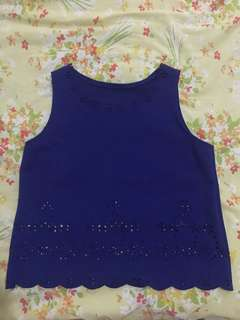 Blue top with cut outs