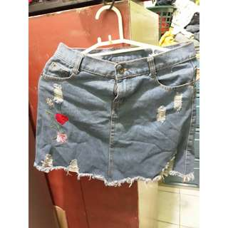 Ripped Maong Skirt