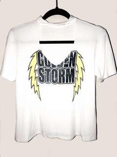 White 'Golden Storm' Choker Shirt