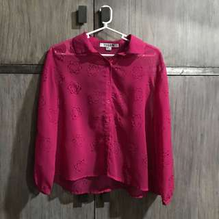 Forever 21 fuschia floral blouse
