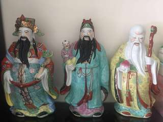 Fu Lu Shou Figurines porcelain 福祿壽 福禄寿 52 cm height and width 25 cm