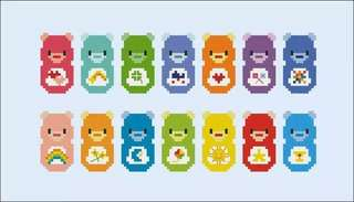 Care bear cross stitch bookmark