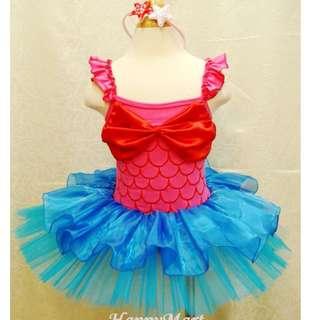 Sale ! New Princess The Little Mermaid Ariel Girl Costume Party Ballet Dress + Headband 全新人美人魚造型裙 + 頭箍 芭蕾舞裙 生日會 宴會裙 2-3T