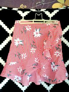 Red & white strippey floral skirt