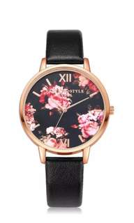 Floral Clock Face Watch (In stock)