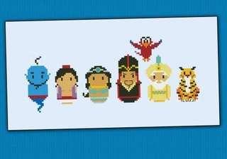 Aladdin cross stitch bookmark