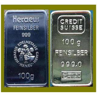 ★ or Nearest Offer. GERMANY 2x 100 Grams (6.42 Oz Troy) 999 Fine Silver Vintage bars