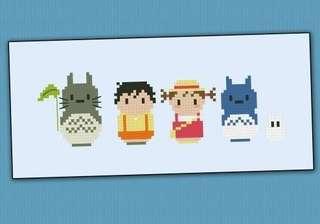 Totoro cross stitch bookmark