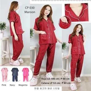 Piyama Baju Tidur Bahan Satin Halus Celana Panjang Grosir