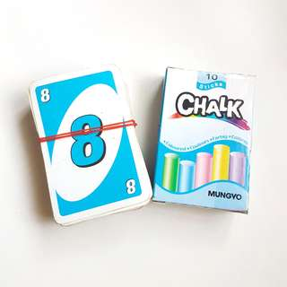 GIVEAWAY | used uno cards and chalk