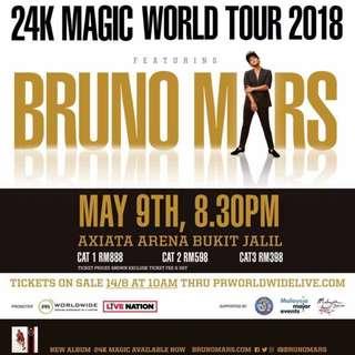 4 Bruno Mars Box 119(CAT 1) tickets