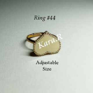 #44 (Adjustable) White Golden Rings Ladies Girls Women Female Lady Accessories Gift Presents