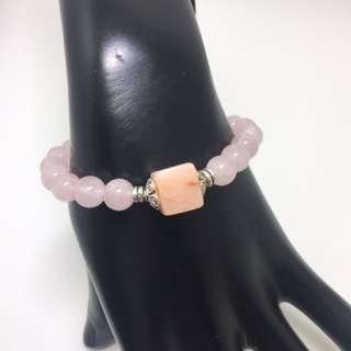 New Rose Quartz/Colored Jade Bracelet