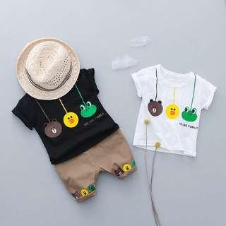 韓版夏季卡通短袖T恤連褲兩件套裝