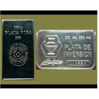 ♦ or Best Offer.. SPAIN, 1 Lot - 2x 100g Grams (6.42 Oz Troy) 999 Fine Silver Classic bars