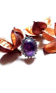 Beautiful Amethyst Ring Size 6.5 (Canada) Size 13 (Asia) Set in 925 Silver.