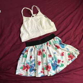 BUNDLE - white bralette and floral skirt (calliope)
