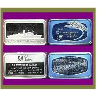 ♦ USA, Franklin Mint - 1 Pair. 2x 1000gr Grains (3.855 Oz Troy 999) Fine Silver chunky Ingot art bars