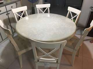 Full Marble Round Table Set! FOC 6 wooden chairs!
