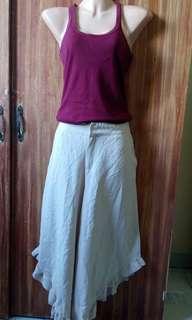 Ruffled asymmetrical hem- elephant pants