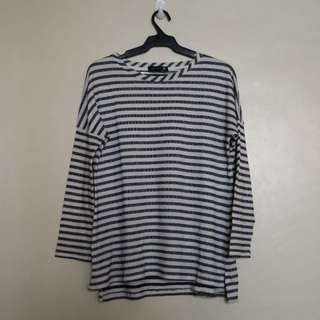 Cotton On White and Dark Gray Stripes Long Sleeves