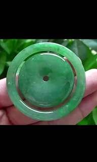 天然翡翠A貨-冰糯種甜綠子母平安扣玉墜