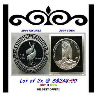 AVAILABLE, Please enquire ★ NKorea Won & CCuba Pesos, 2004 Mix Choice - 2x 1 Troy Oz. 999 Fine Silver Proof coins