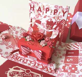 Happy 59th Birthday Explosion Box Card in floral theme