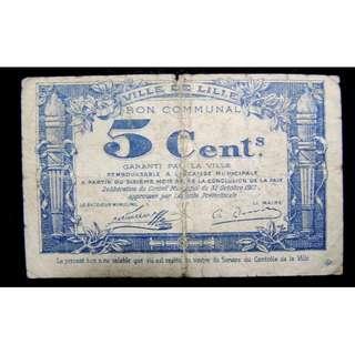 1917年法國北部城市里耳市政府5仙臨時鈔票(第一次世界大戰時期)