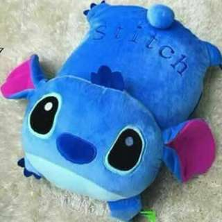 2 in 1 Stitch Disney Fashion Foldable Travel Pillow Blanket