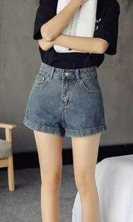 Korean Ulzzang Basic Grey Blue Denim Shorts