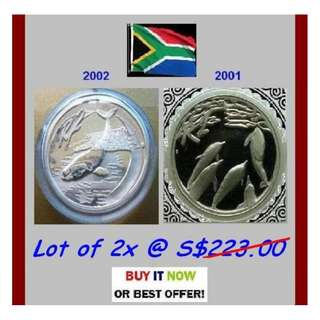♦ S. Africa R2 Rand, 2001 / 02 Marine Series - 2x 1 Oz + Troy / Grams (999) Fine Silver Proof coins