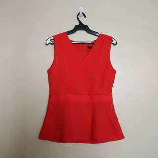 Sleeveless Red V-Neck Blouse