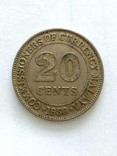 Coin: year 1950 malaya