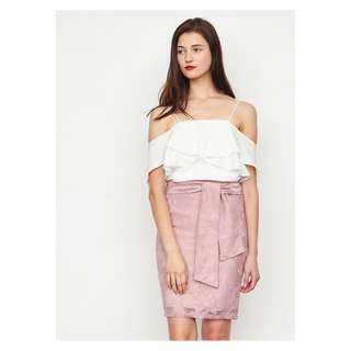 Salvyn Lace Tie Skirt in Blush, By Lovengold