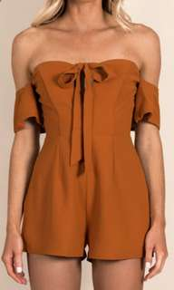 Dissh burnt orange tie playsuit