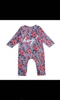 Baby Girl Romper Floral Blue Pretty Long Sleeve Bodysuit Newborn Infant Kids Children [PO]