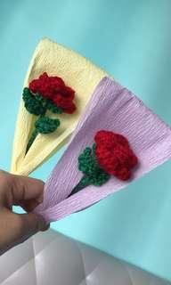 Single stalk flower - crochet roses