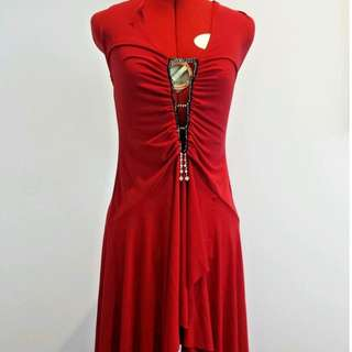 Red Low Cut Halter Neck Formal/ Cocktail Dress with Low Back